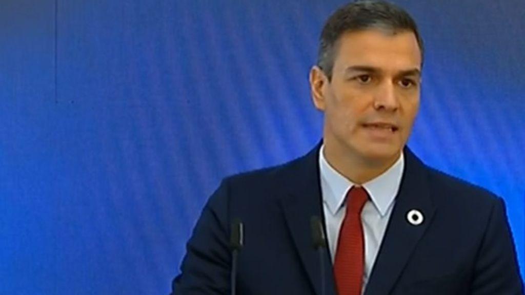 Pedro Sánchez, presidente del Gobierno, en la presentación del Plan de Recuperación