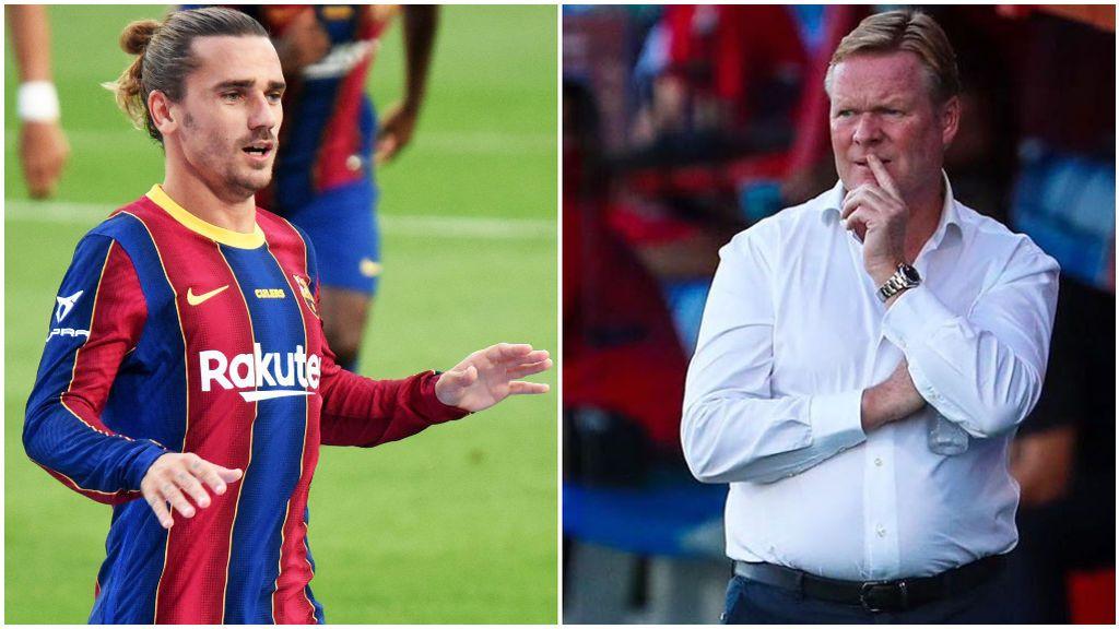 Griezmann, tras fallar una ocasión, y Koeman, en el banquillo del Barça.