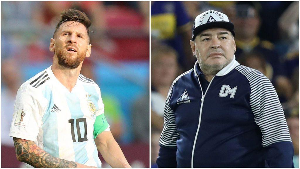 Leo Messi, con la Selección, y Maradona, como entrenador.