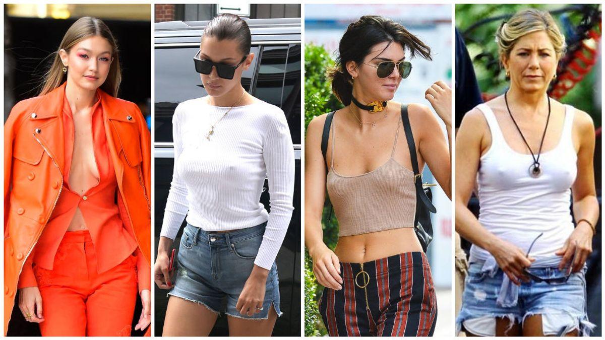 Braless: las famosas se apuntan a la moda de ir sin sujetador.