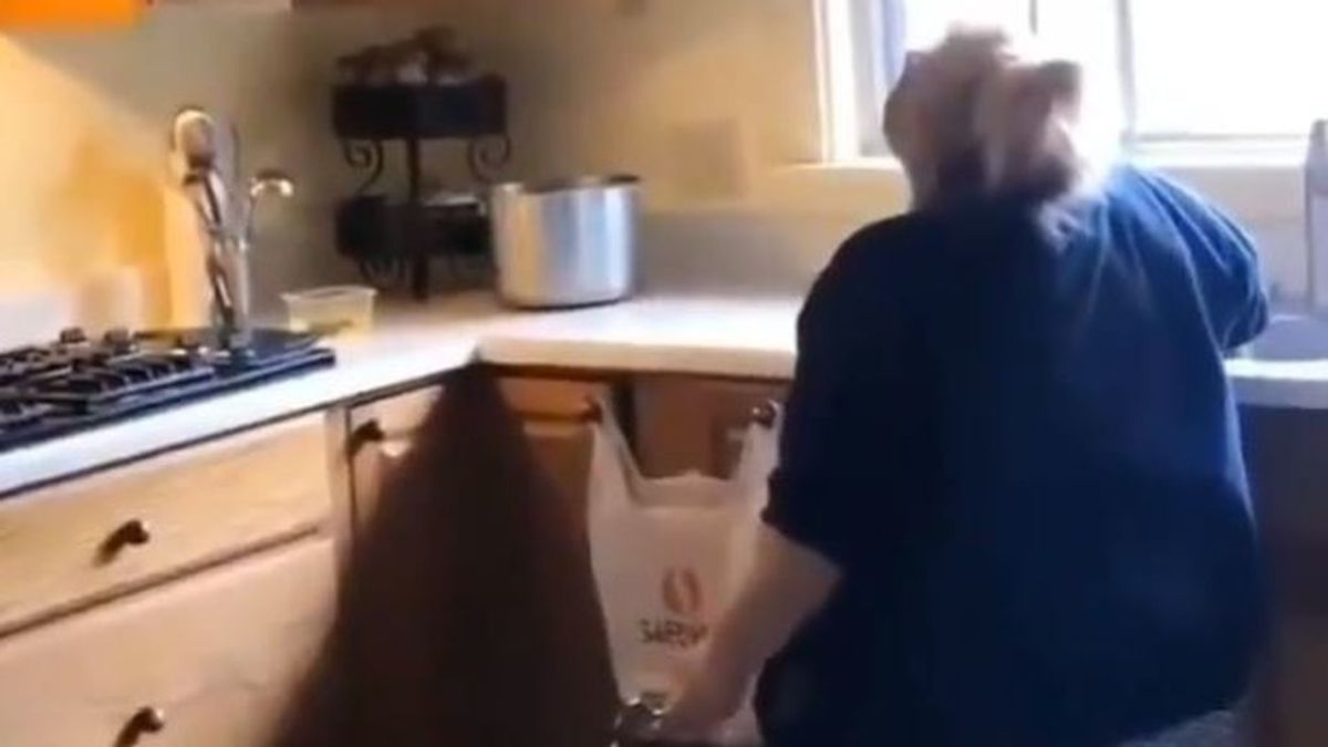 La pasional actuación de una mujer cantando en la cocina cuando cree que nadie la está viendo