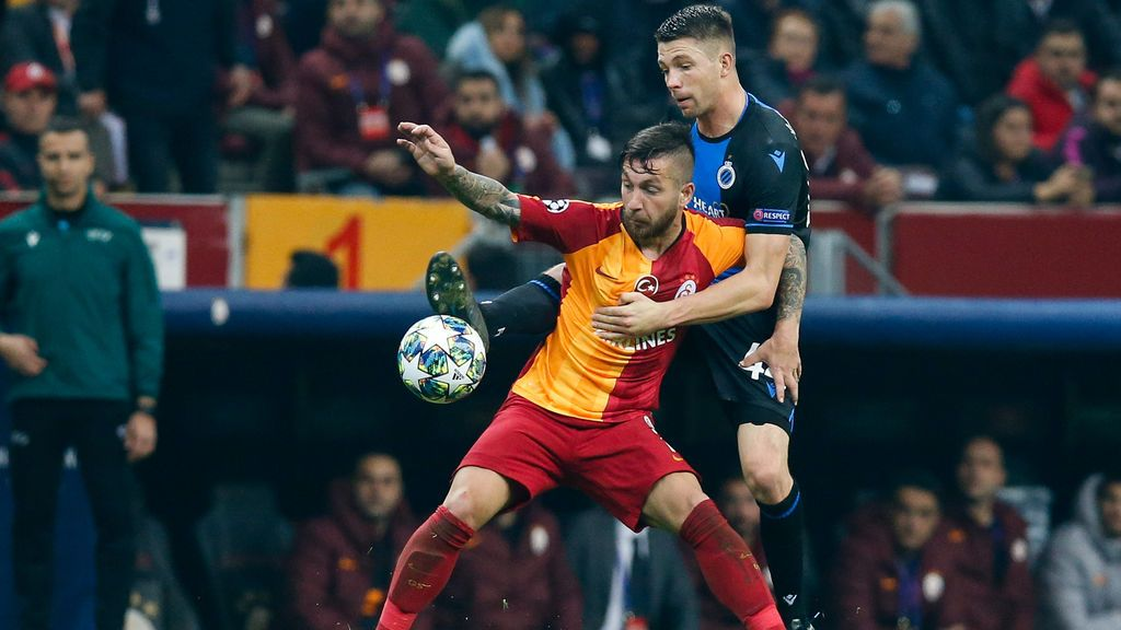 El Galatasaray en un partido como local ante el Brujas