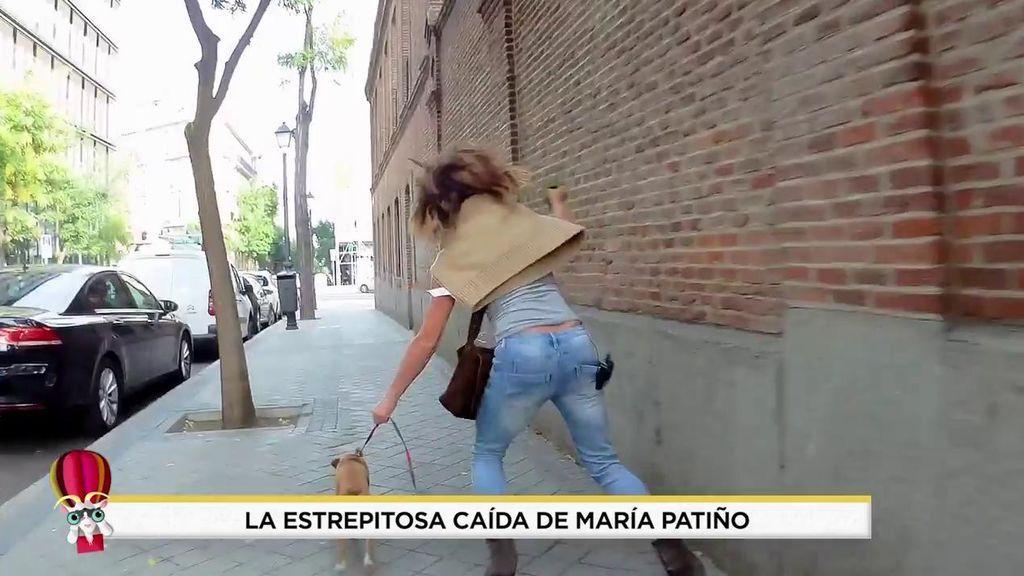 La espectacular caída de Patiño con su perra Beige