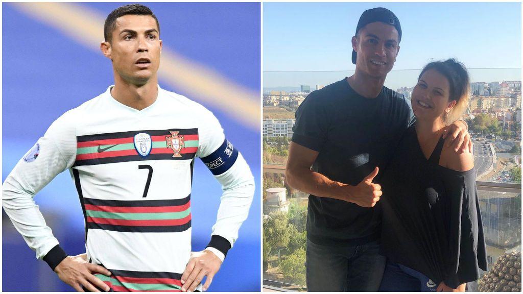 Cristiano Ronaldo, con la selección de Portugal, y junto a su hermana Katia Aveiro.