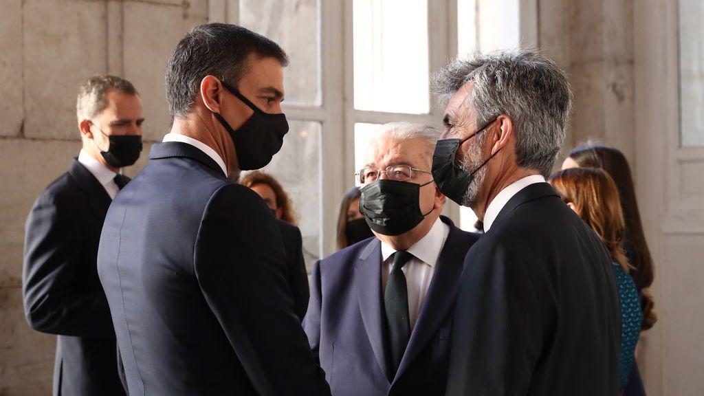Pedro Sánchez con Carlos Lesmes, presidente del CGPJ