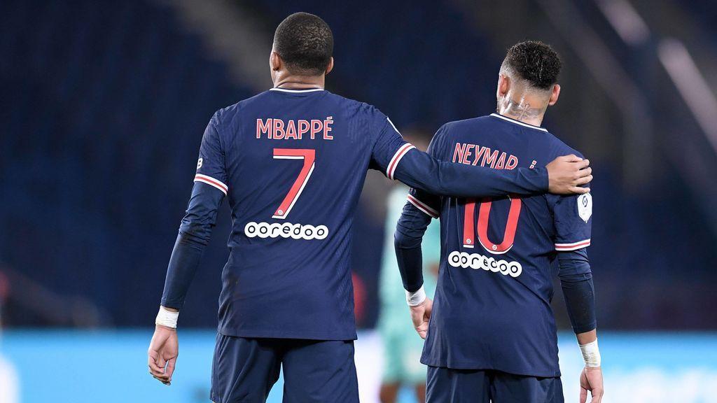 Neymar y Mbappé, durante un parido con el PSG