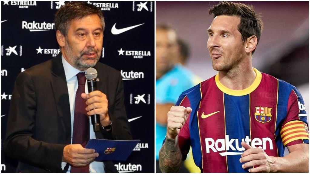 Bartomeu, en un acto del club, y Messi, ante el Villarreal.