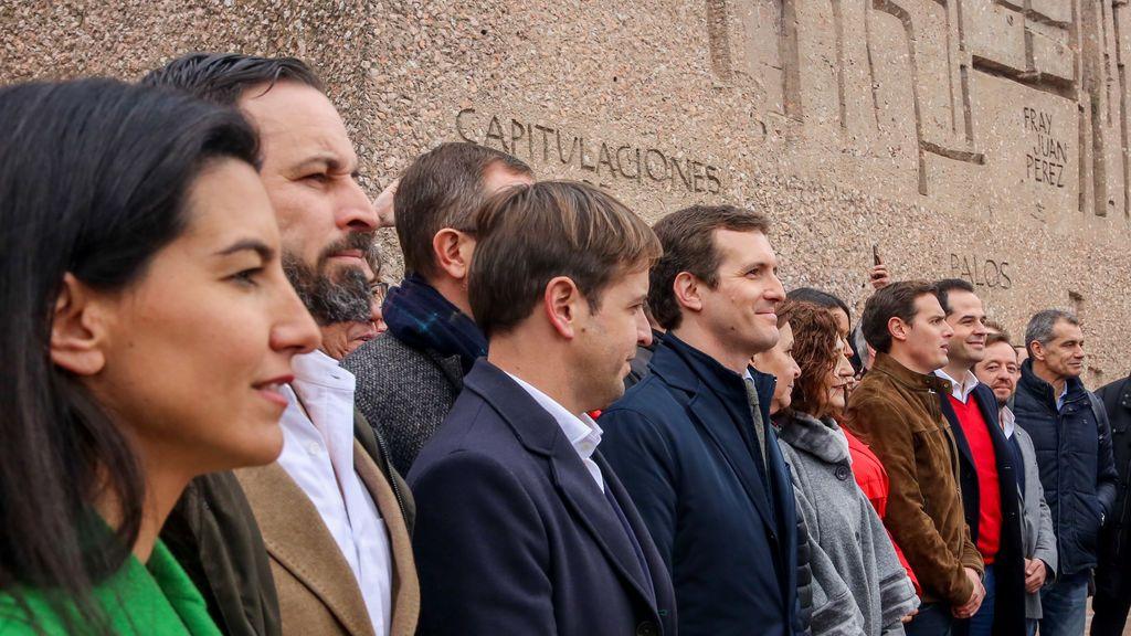 Pablo Casado y Santiago Abascal en la foto de Colón contra el Gobierno de Pedro Sánchez