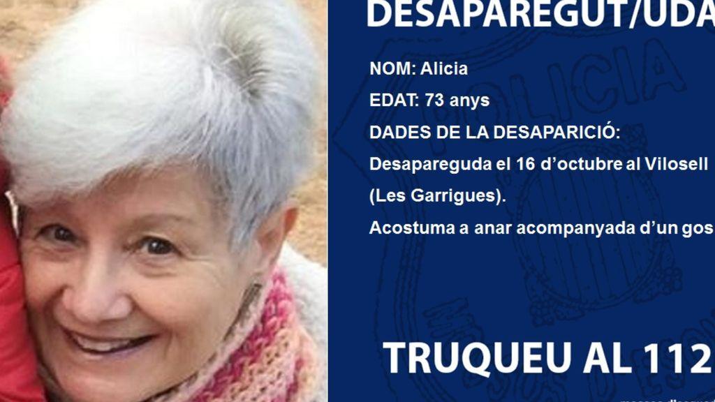 La Pobla de Cérvoles (Lleida) pide ayuda para encontrar a la madre de Jaume Collboni, desaparecida