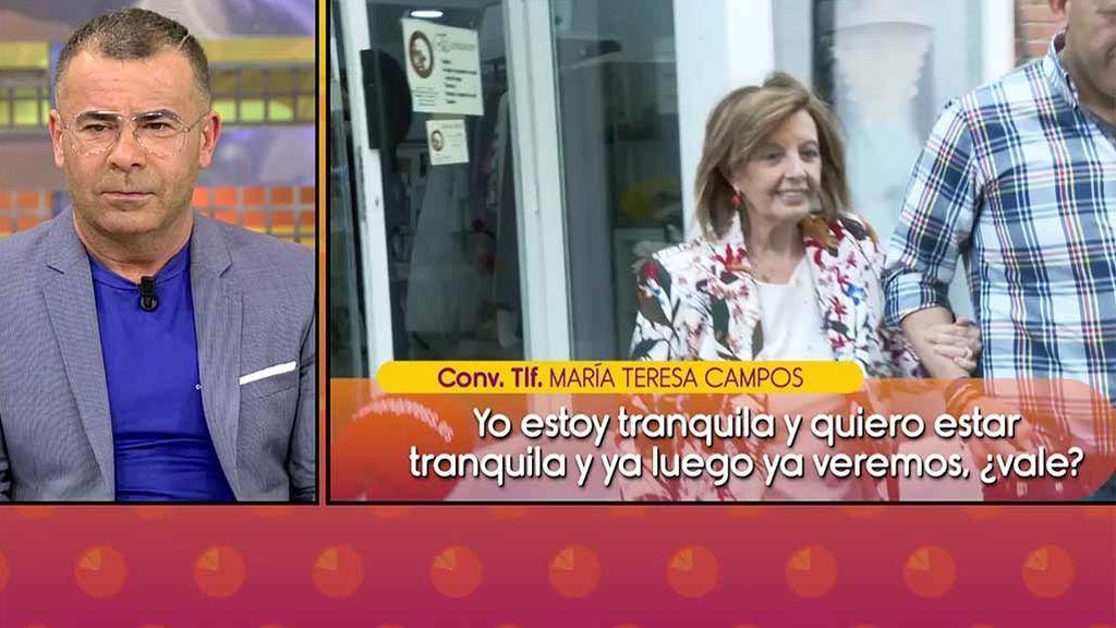 """Primeras palabras de Teresa Campos tras su conflicto con Jorge Javier Vázquez: """"Ahora quiero tranquilidad"""""""