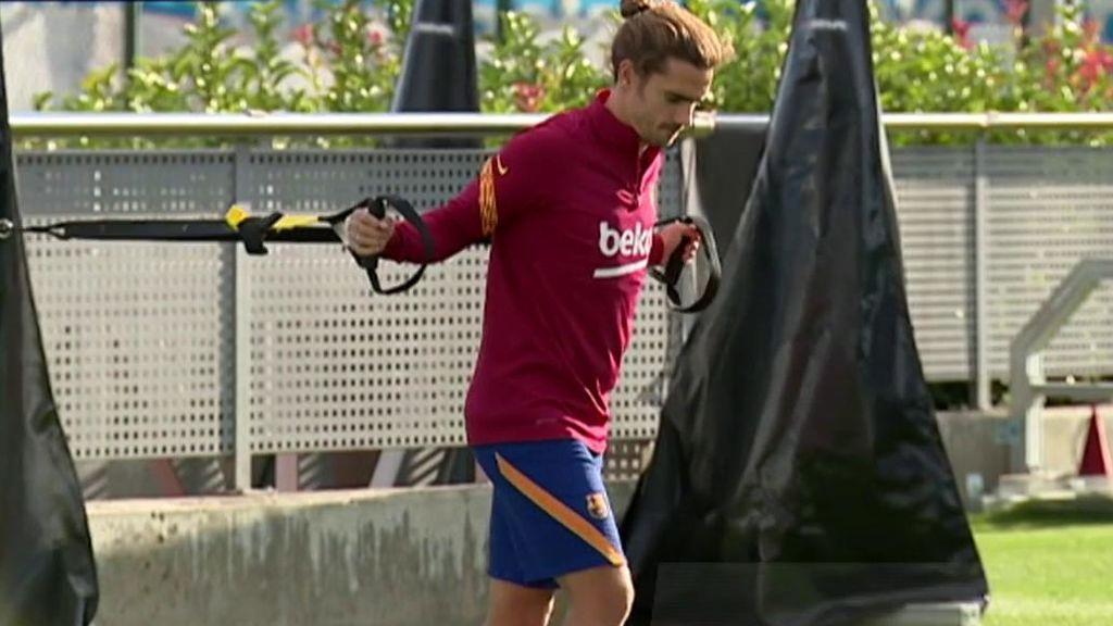 Griezmann, en el último entrenamiento del Barcelona.