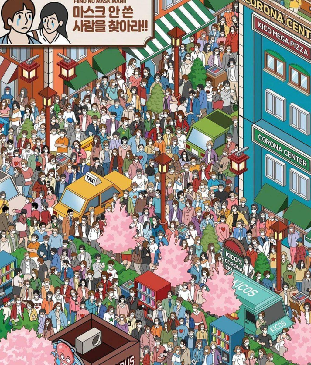 El nuevo reto que desafía tu agudeza visual: ¿Dónde está la única persona sin mascarilla?