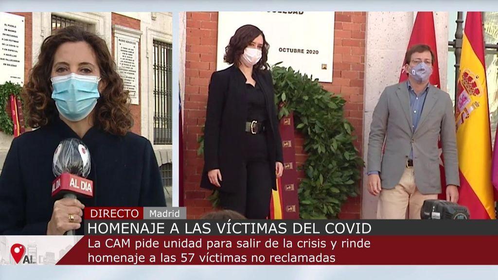 """Ayuso defiende """"políticas sensatas y moderadas"""" contra el coronavirus durante el homenaje a las víctimas en Madrid"""