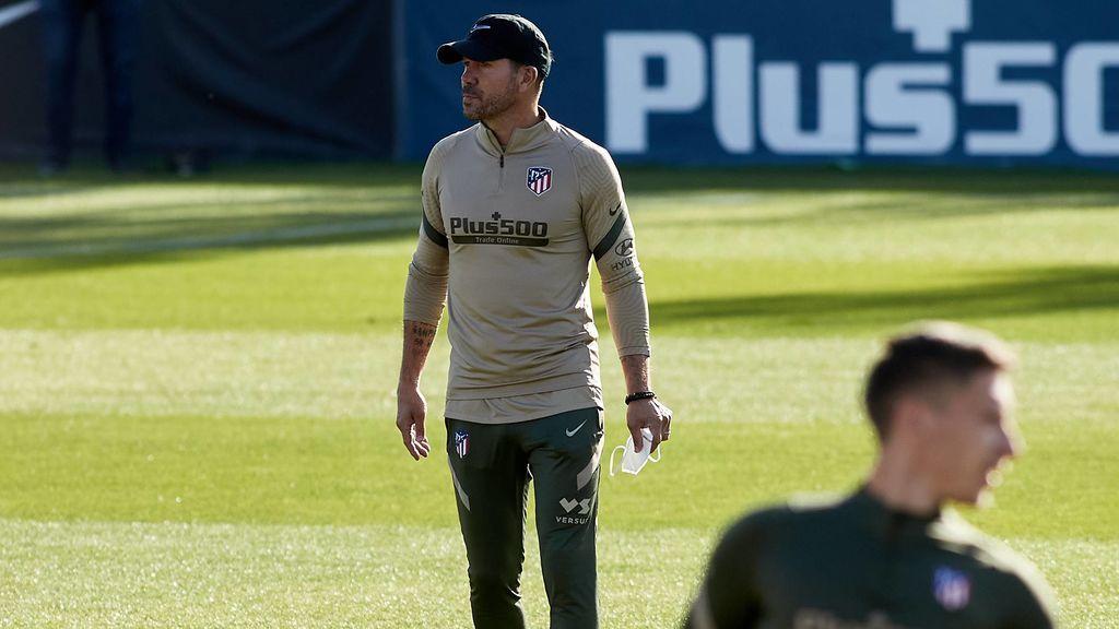 Simeone, en un entrenamiento del Atlético de Madrid.