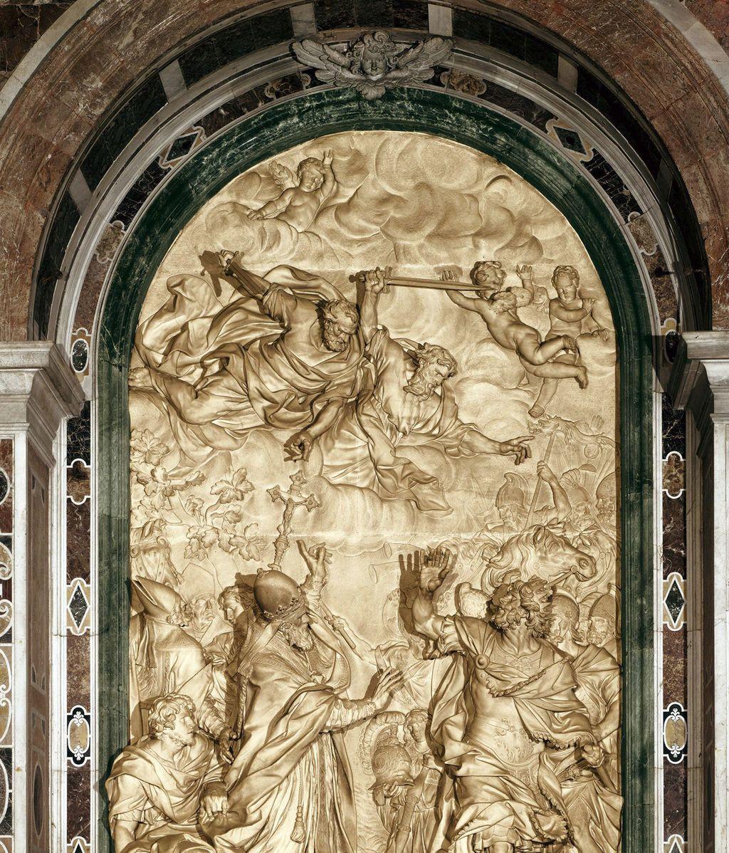 Relieve de Alessandro Algardi, en la basílica de San Pedro, que muestra el momento en que el papa León I convence a Atila para que no saquee Roma