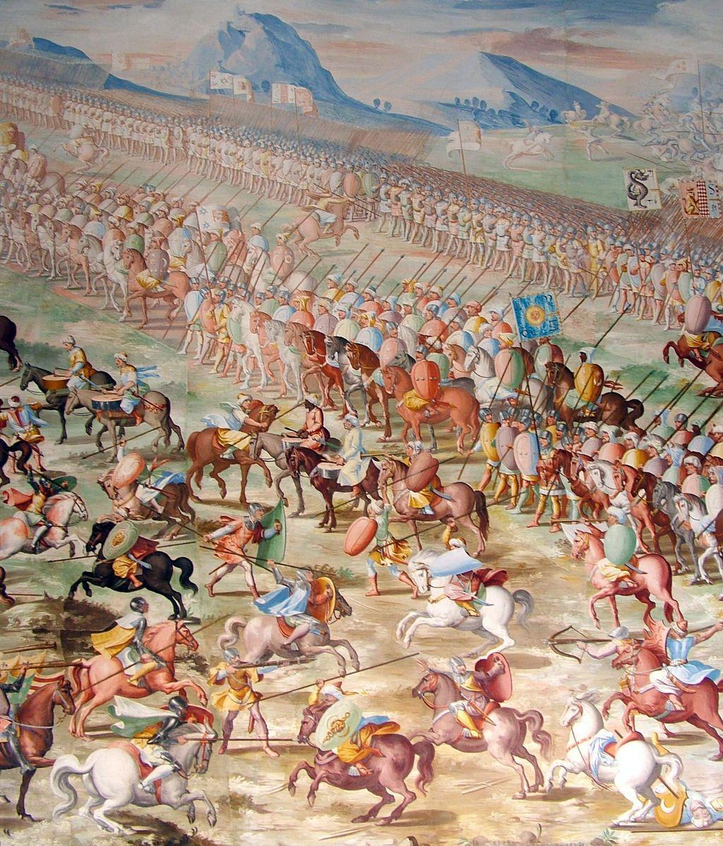 Detalle del fresco La Batalla de La Higueruela, en la sala de Batallas del Monasterio de San Lorenzo de El Escorial.