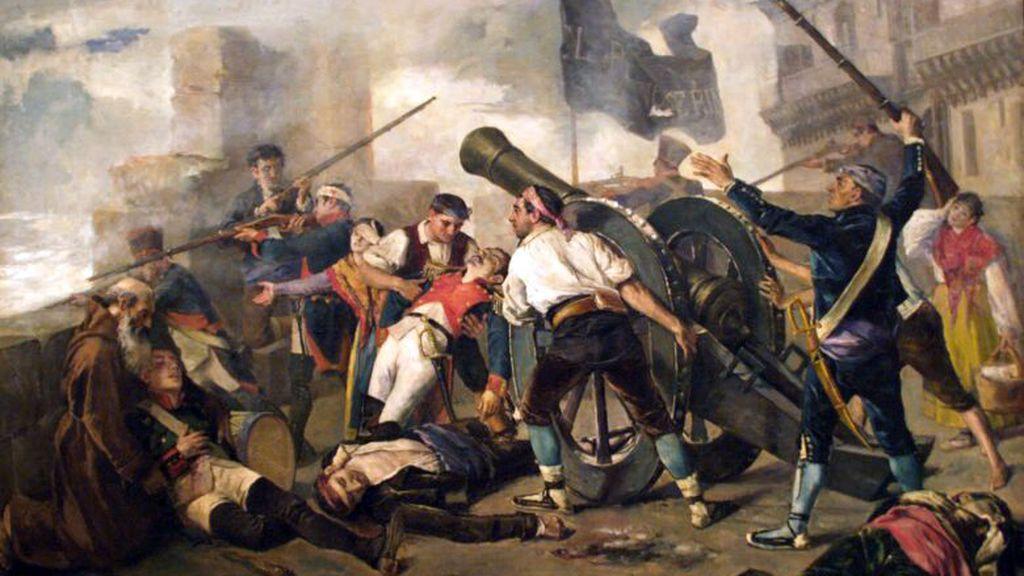Cuadro del artista Federico Jiménez Nicanor que muestra la defensa de los aragoneses contra el invasor francés.