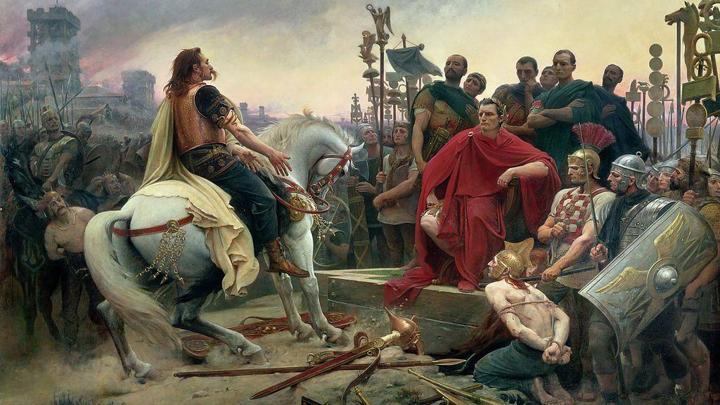 Vercingétorix depone sus armas a los pies de César. Cuadro deLionel Royer, 1899