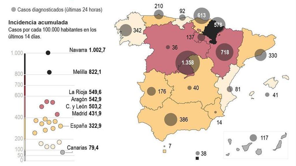 El mapa de las restricciones del coronavirus por CCAA