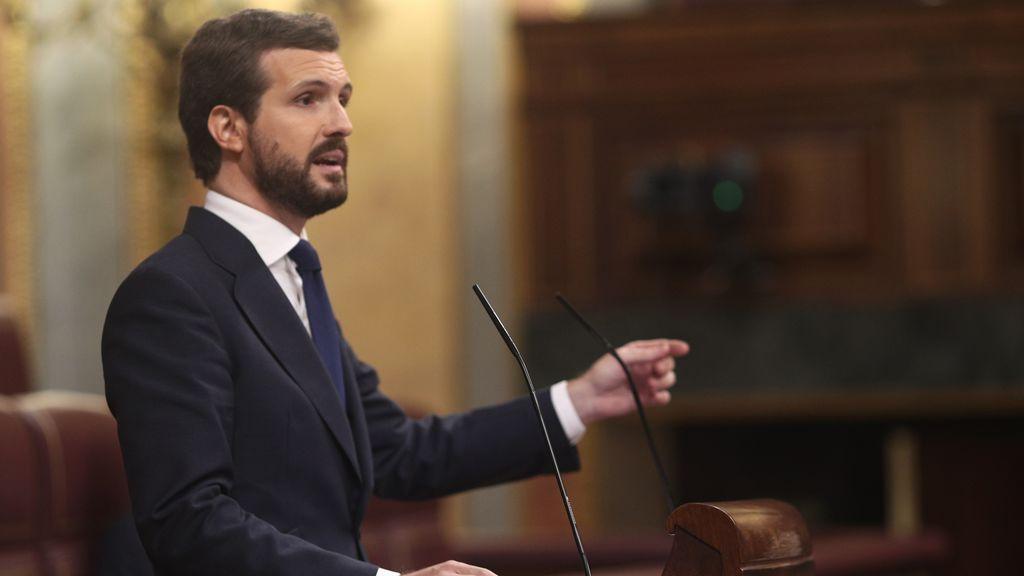 """Casado anuncia el """"no"""" del PP a la moción de censura de Vox"""