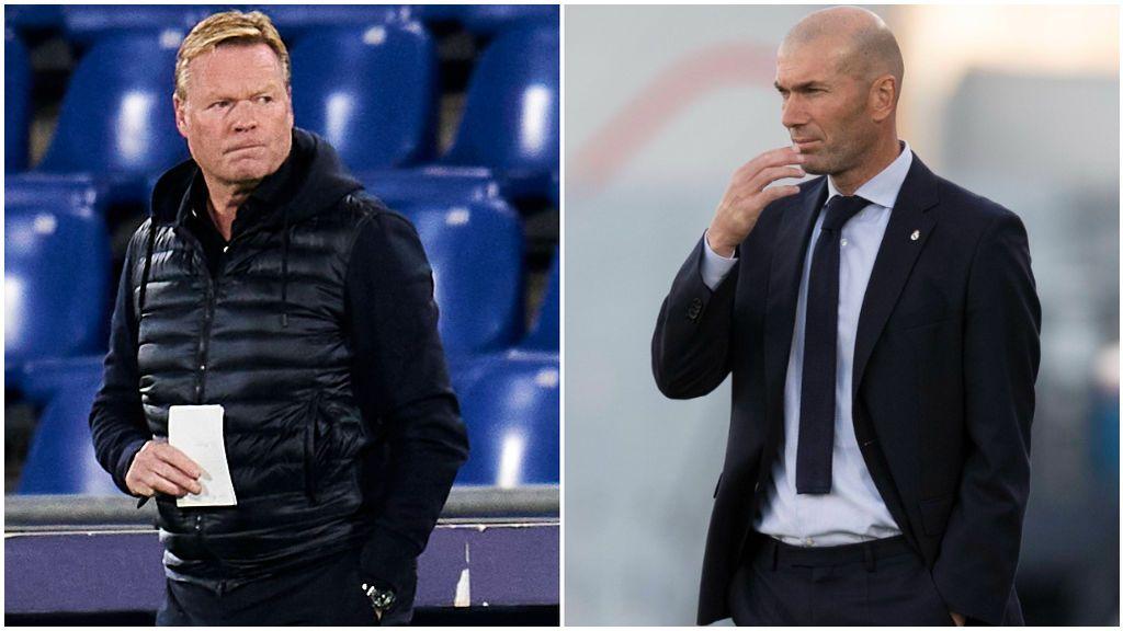 Koeman y Zidane se enfrentan por primera vez en un Clásico.