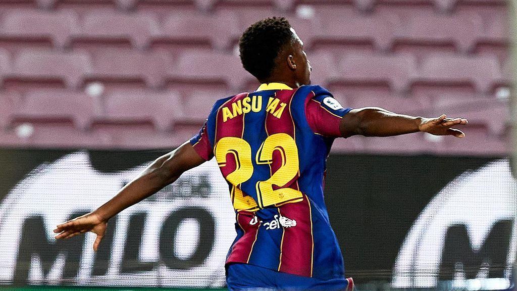 Ansu Fati, tras marcar un gol en el Camp Nou.