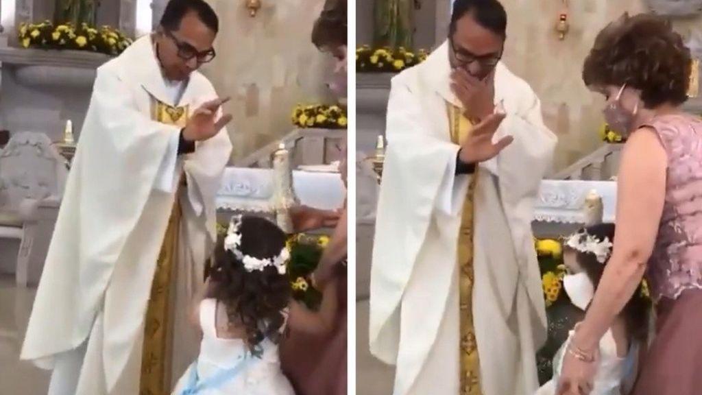 Bendición viral en misa: risas ante la reacción de una niña durante su Primera Comunión