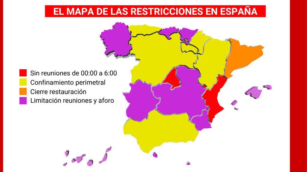 Desde toques de queda hasta cierres perimetrales: así está el mapa de las restricciones por el coronavirus en España