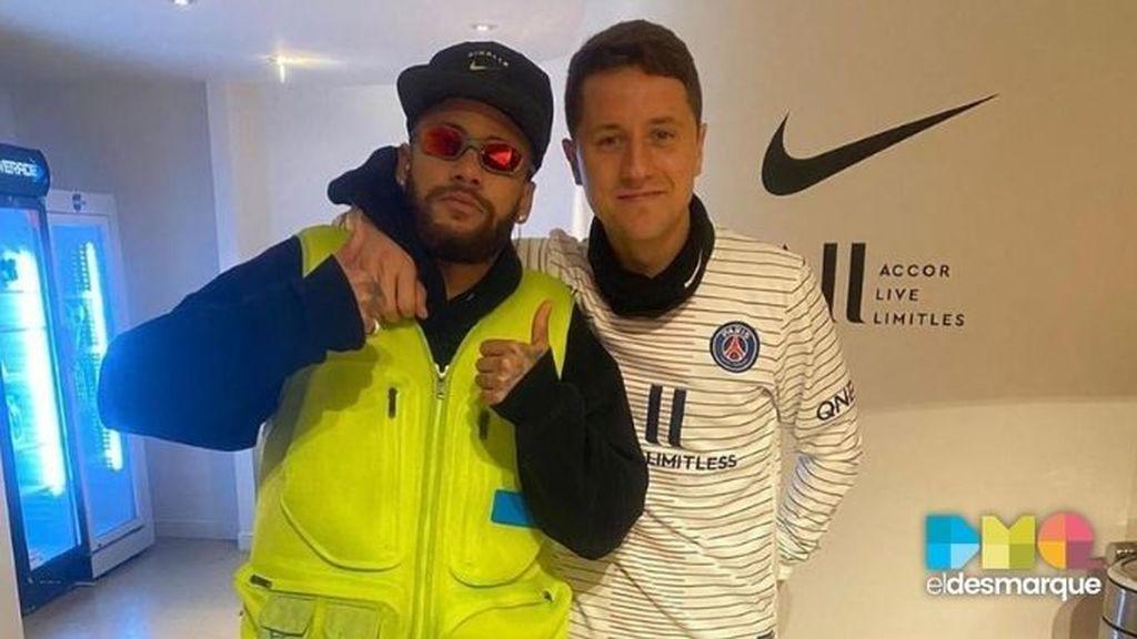 Neymar y Ander Herrera, con el PSG