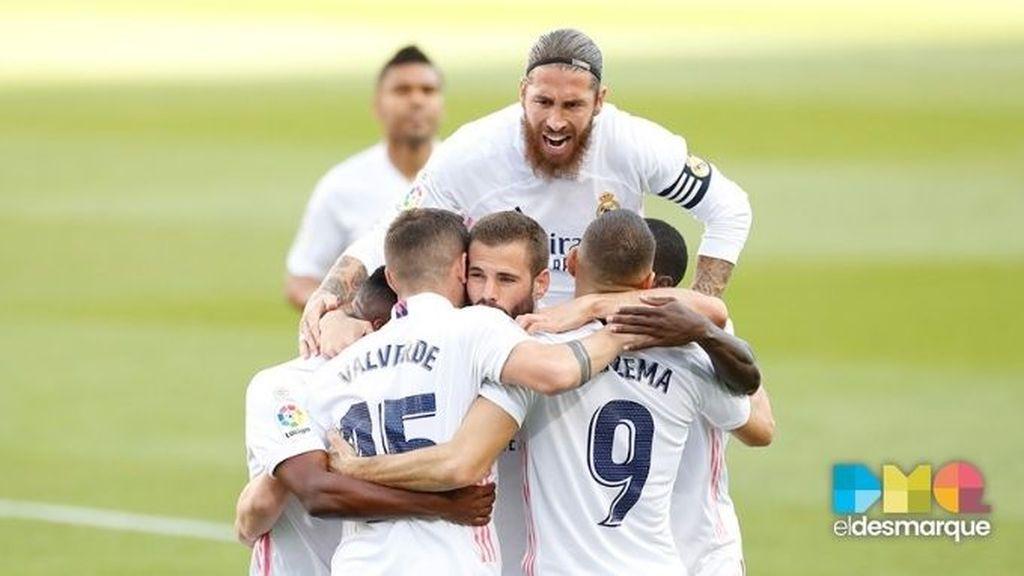 Celebración del Real Madrid en el Clásico