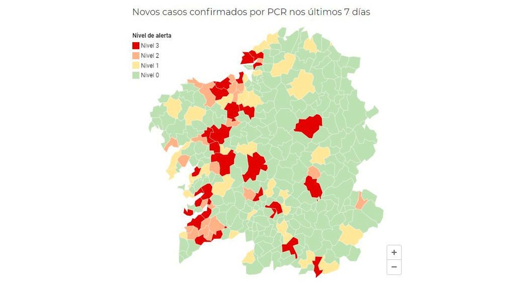 Mapa de alerta por coronavirus en Galicia del 24 de octubre