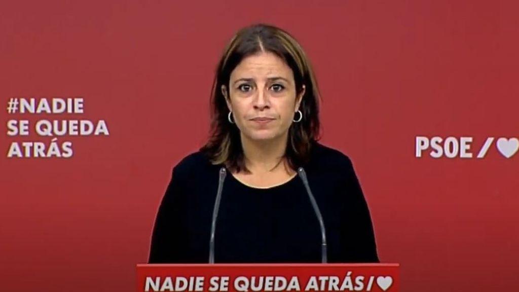 La portavoz del PSOE en el Congreso de los Diputados, Adriana Lastra