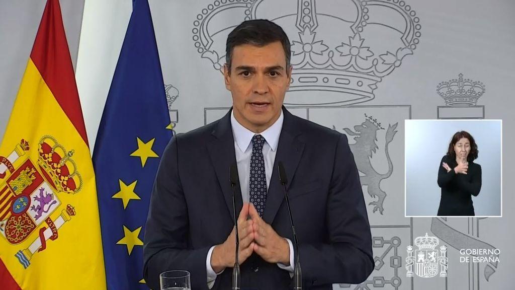 Pedro Sánchez compareciendo en el Palacio de la Moncloa
