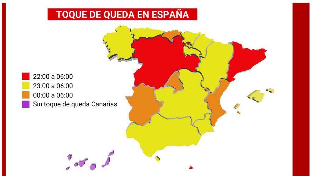 Horarios del toque de queda en España
