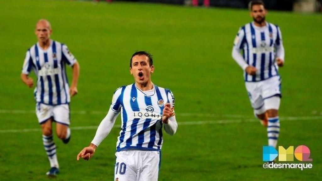 Celebración de Mikel Oyarzabal en el Real Sociedad-Huesca