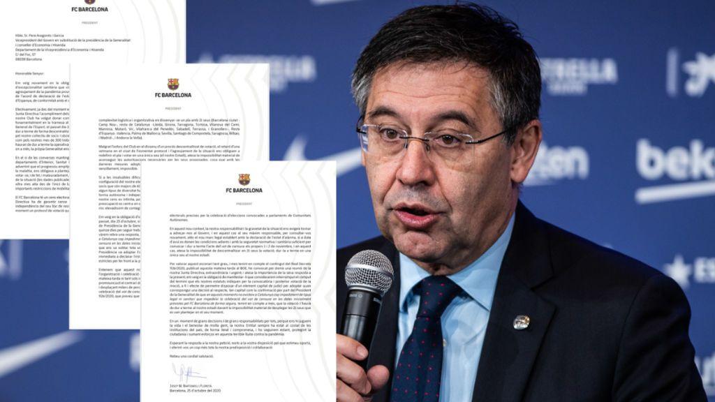 El regate de Bartomeu a la moción de censura:  cuestiona la viabilidad de la votación por el estado de alarma