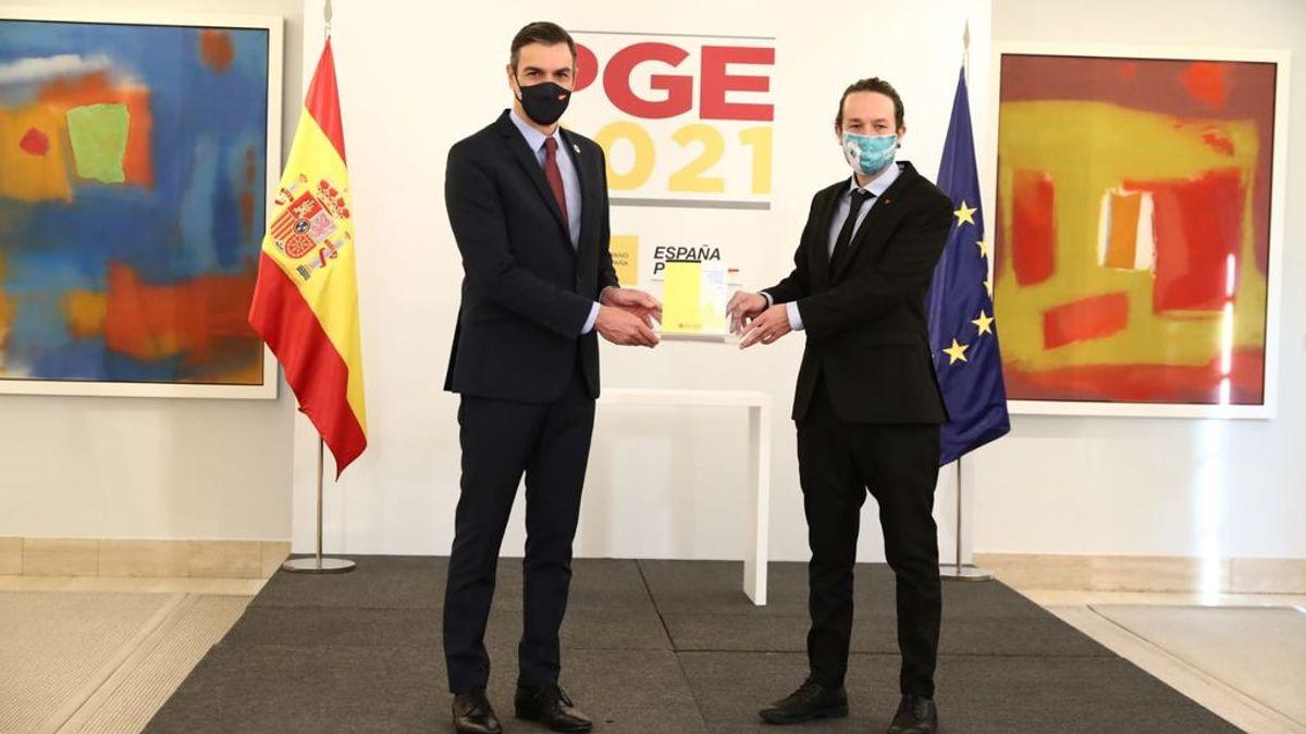 """Sanchez e Iglesias escenifican su acuerdo de Presupuestos: """"Son inaplazables, indispensables  y lo que nuestro país necesita"""""""