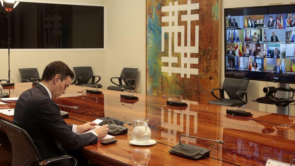 Pedro Sánchez en una videoconferencia de presidentes
