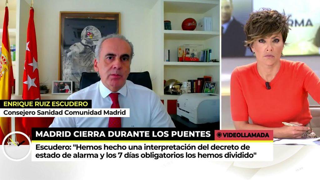 """El consejero de Sanidad de Madrid asegura que la fórmula del cierre por días se la dio Salvador Illa: """"Dijo que se podía aplicar los festivos"""""""