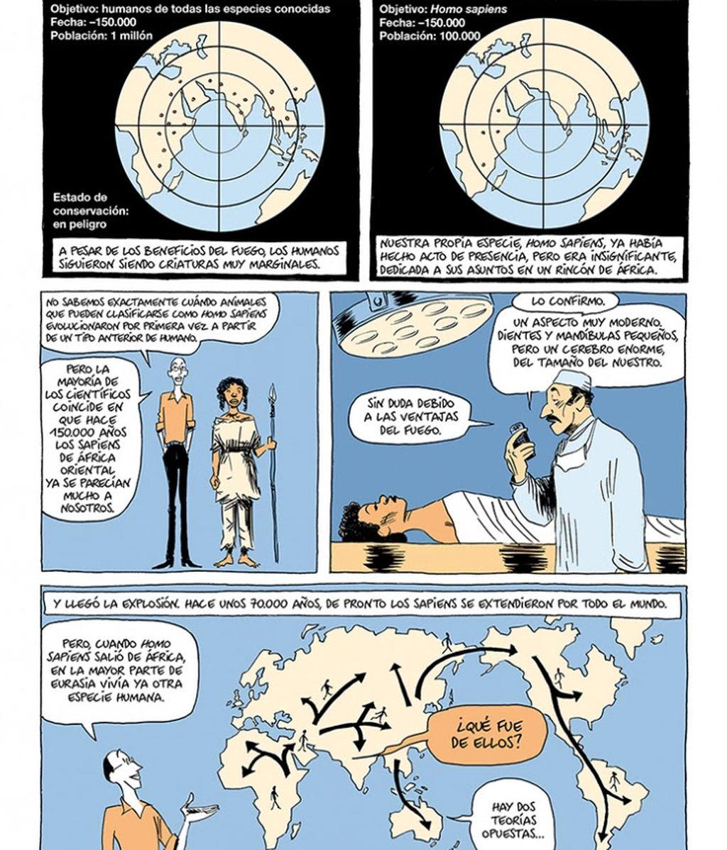 Viñeta del cómic de 'Sapiens'