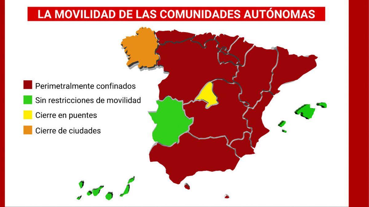 Los cierres perimetrales ya afectan a más de 40 millones de españoles