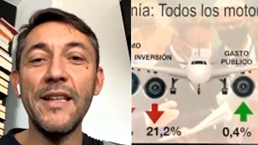 Javier Ruiz explica con un avión y cuatro motores si este es momento de subir impuestos