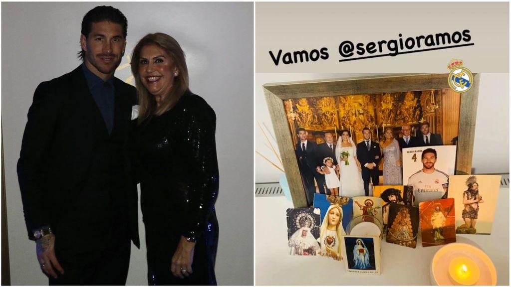 """El altar de la madre de Sergio Ramos cada vez que juega el Real Madrid: """"Costumbres de mamá"""""""