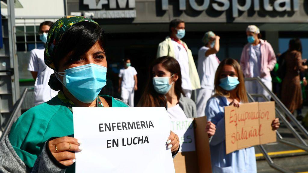 Concentración en el Hospital de la Paz, en Madrid