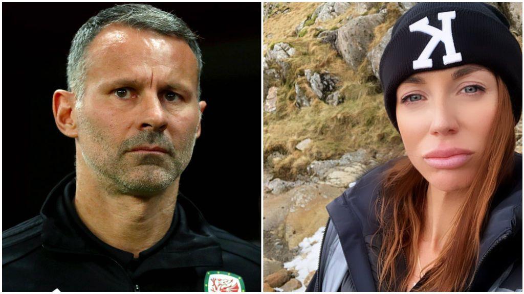 Ryan Giggs, en un partido con Gales, y Kate Greville, en su cuenta de Twitter.
