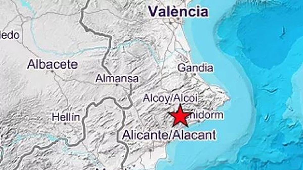 Se registra un terremoto de 3,6 grados al norte de Alicante y sur de Valencia