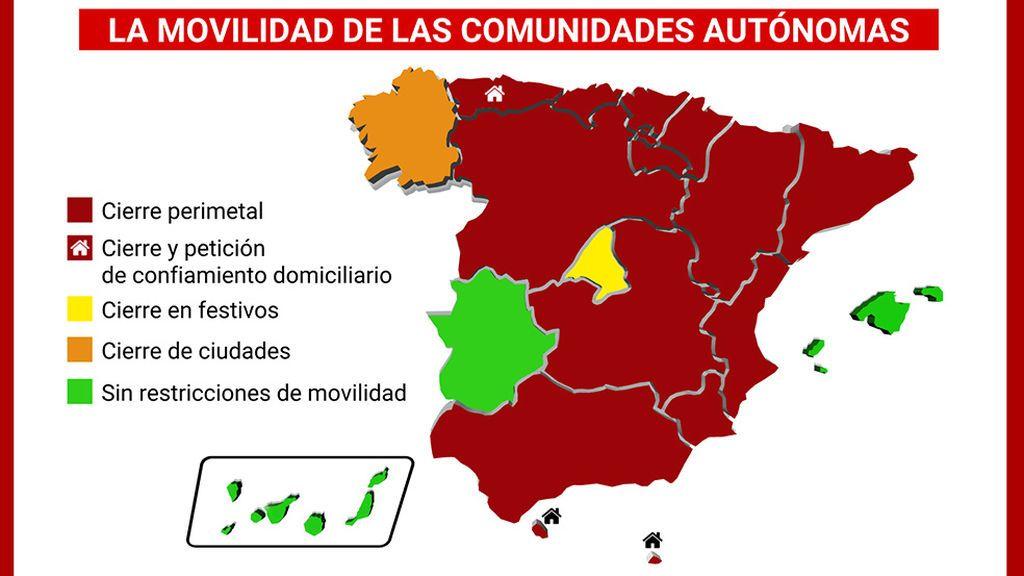 El mapa de las restricciones en España, región a región