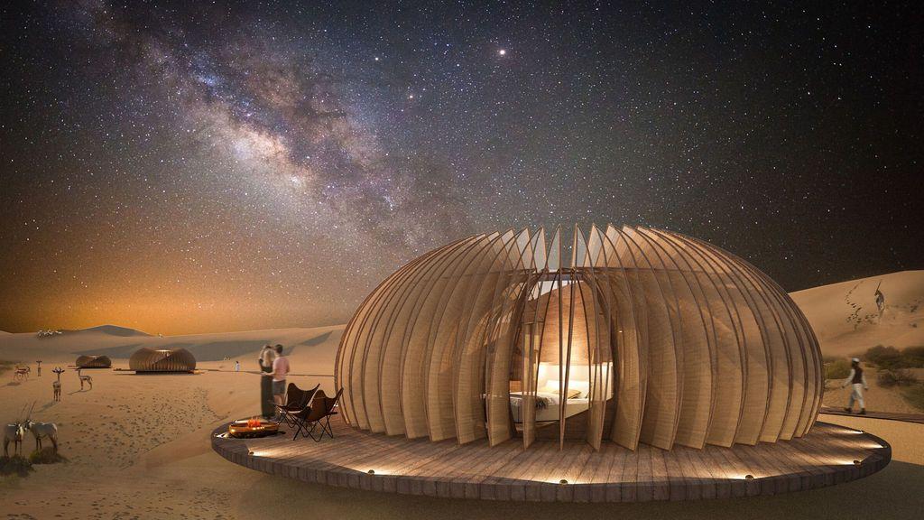 Cápsulas en pleno desierto de Rub' Al Khali, el nuevo hotel de lujo de Abu Dabi