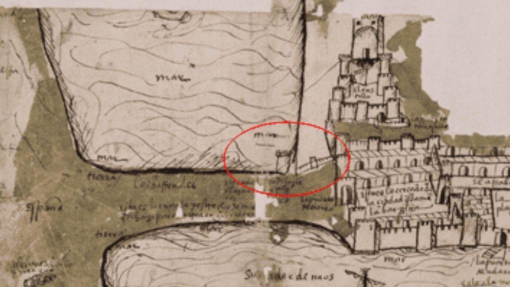 La Torre Circular, señalada en rojo, y el resto de defensas al norte de Gibraltar