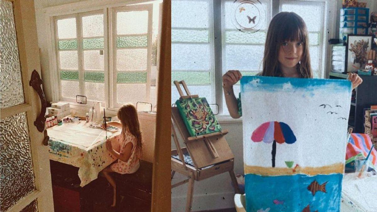 Una niña de cinco años pinta paños de cocina para poder pagar el tratamiento de su padre contra el cáncer